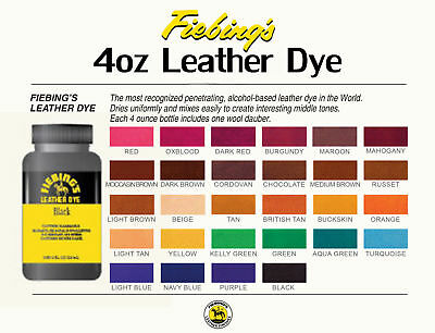 Fiebing's Leather Dye w/ Applicator - ALL COLORS- 4 OZ  |Not for CA Customers| 2
