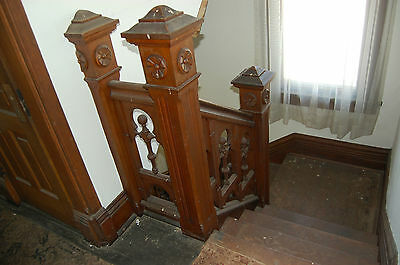 Antique Oak Stairway,paneled And Detailed Newel Post,original Finish 1890's 5