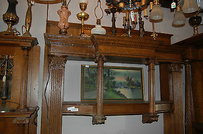 Antique Quarter Sawn Oak Fireplace Mantel  Columns Detailed Carvings 2