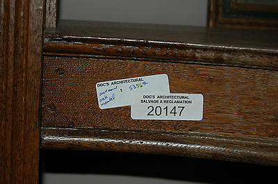 Antique Quarter Sawn Oak Fireplace Mantel  Columns Detailed Carvings 5