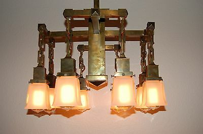 Monumental 8 Arm Arts & Crafts Commercial Building Chandelier Aged Brass Patina 5