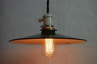Industrial Antique Pendant Light Enameled Shade Porcelain Canopy & Socket 2