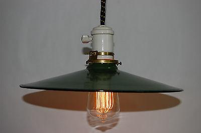 Industrial Antique Pendant Light Enameled Shade Porcelain Canopy & Socket 4