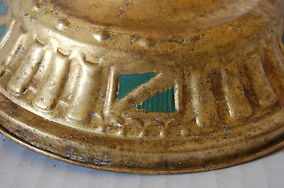 Brass Exposed Bulb Ceiling Fixture Art Deco Shield Design Spanish Revival