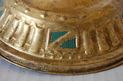 Brass Exposed Bulb Ceiling Fixture Art Deco Shield Design Spanish Revival 2