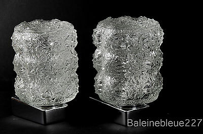 Pair Vintage Mid Century 60´s Glass & Chrome Wall Lamps Ice Sconces Design 7