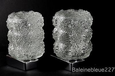 Pair Vintage Mid Century 60´s Glass & Chrome Wall Lamps Ice Sconces Design 7