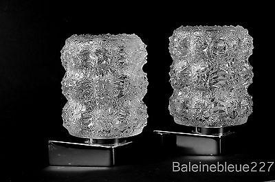 Pair Vintage Mid Century 60´s Glass & Chrome Wall Lamps Ice Sconces Design 4