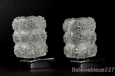 Pair Vintage Mid Century 60´s Glass & Chrome Wall Lamps Ice Sconces Design 9