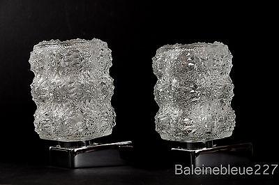 Pair Vintage Mid Century 60´s Glass & Chrome Wall Lamps Ice Sconces Design 9