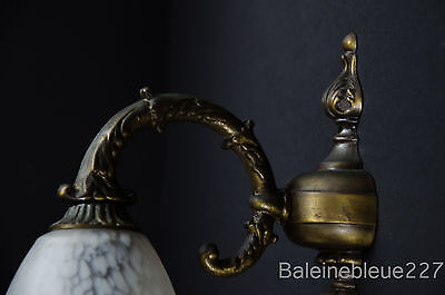 Vintage French Art Deco Brass Sconce With Pate De Verre Glass Shade 3