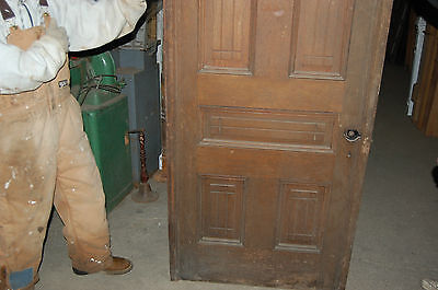 Antique Eight Panel Oak Pocket Door Vintage Home Decor Architectural Salvage 2