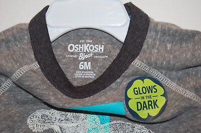 NWT OshKosh 6 months L/S Shirt Dinosaur T-rex Glow in the dark 3