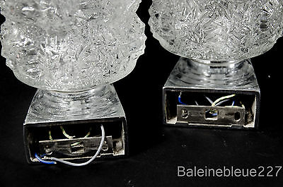Pair Vintage Mid Century 60´s Glass & Chrome Wall Lamps Ice Sconces Design 8