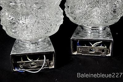 Pair Vintage Mid Century 60´s Glass & Chrome Wall Lamps Ice Sconces Design 8