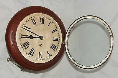 Antique  rare 8 inch Dial CHAIN Fusee Mahogany Wall School Clock c1900 3