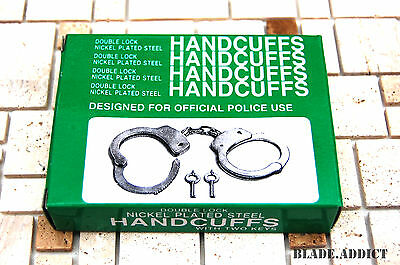Professional Chrome Nickle Plated Steel Double Lock Police Hand Cuffs w/ Keys 4
