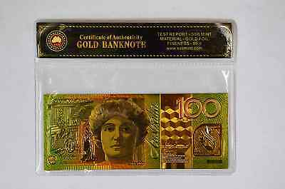 24Kt Gold Limited Edition Coloured Australian $100 Polymer Bank Note