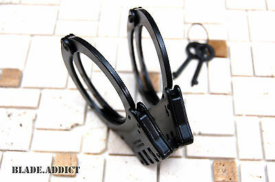 Professional Double Lock Black Steel Hinged Police Handcuffs w/ Keys Real EDC 2