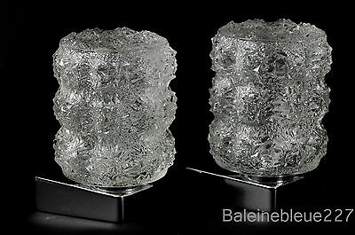 Pair Vintage Mid Century 60´s Glass & Chrome Wall Lamps Ice Sconces Design 5