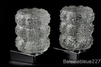 Pair Vintage Mid Century 60´s Glass & Chrome Wall Lamps Ice Sconces Design 5