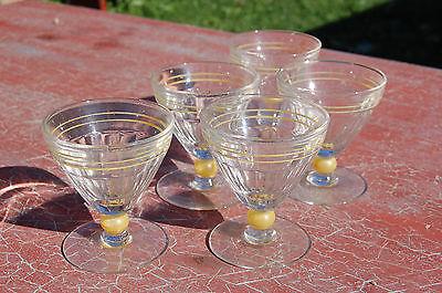 5 Antiguos Cristales para Pie - Vintage - Bolas Amarillo-8 cm CT 2