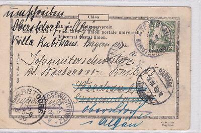 K 826 - RAR - Tsingtau -Lazareth, 1906 gelaufen, postalische Weiterleitung