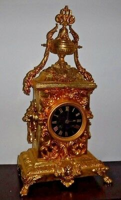 Rare Beautiful French Japy Frere Antique Gilt 8 Day Chime Clock Working 7