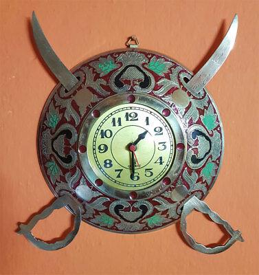 Antique Look Sword and Shield Design Wall Clock 2