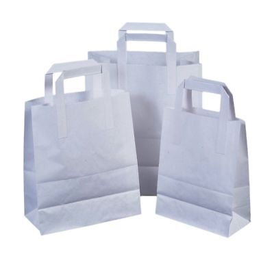 Kraft Craft Paper SOS Carrier Bags white with Flat Handles /Takeaway/ restaurant 3