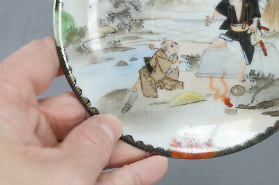 Late 19th Century Kutani Porcelain Hand Painted Samurai Tea Cup & Saucer B 11