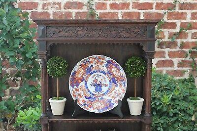 Antique English Oak Renaissance Revival Plate Rack Display Wall Shelf Bookcase