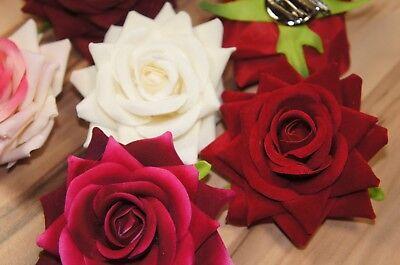 Rosen Haarspange / Haarclip / Alligator-Clip Haarblume Rot Pink Orange Weiß Neu 2