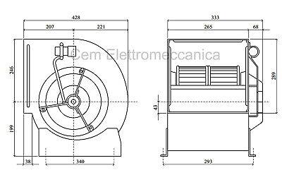 Ventilatore centrifugo DD 10/8 - 550 Watt monofase aspiratore 1 Velocità cappa 4