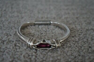 NEW UNO de 50 Fuchsia Elements Crystal LOOPING Silver Band Statemnt Ring 6.5 S M