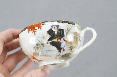 Late 19th Century Kutani Porcelain Hand Painted Samurai Tea Cup & Saucer B 3