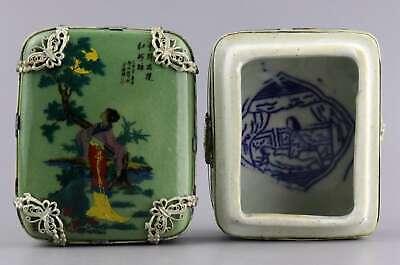 Collect Tibet Silver Armoured Porcelain Paint Ancient Belle Delicate Unique Box 2
