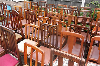 COLLECTION OF OAK 1920s REFURBISHED DINING CHAIRS - FOR PUBS, RESTAURANTS ETC 11