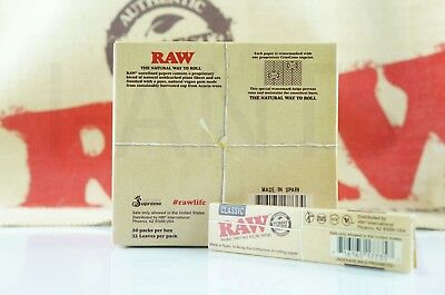 Full Box 50 Packs Authentic Raw Rolling Paper Classic King Size Slim
