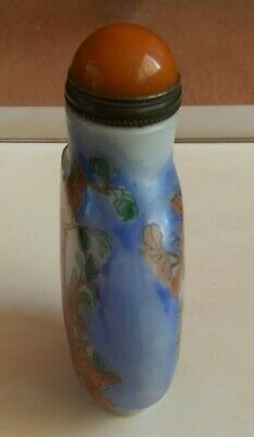 China Peiking glass painting of birds and flowers snuff bottle    鼻 3