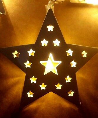 Christmas White Metal STRING STAR Fairy Lights 16 X WARM WHITE LED BATTERY 2.45M 2