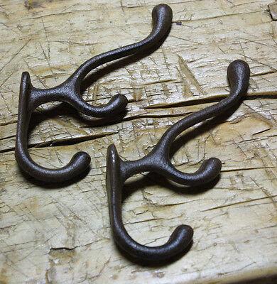 4 Cast Iron TRIPLE SCHOOL Style Coat Hooks Hat Hook Rack Hall Tree Restoration 2