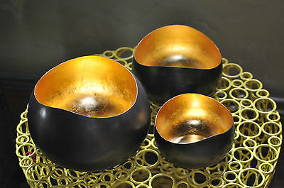 1x teelichthalter teelichtschale teelicht goldlicht swing l 16 cm blattgold eur 35 99. Black Bedroom Furniture Sets. Home Design Ideas