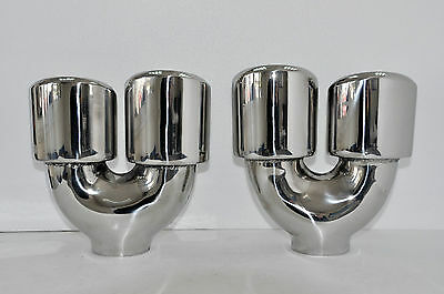 Exhaust dual tips quad tailpipes oval set Mercedes AMG Style VW Golf 7 R Style