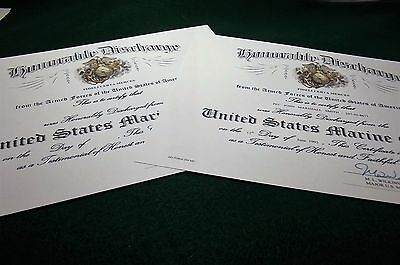 U.S. Marine Corps Honorable Discharge Replacement Certificate 2