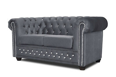 Chesterfield Sofa 3 2er Sitzer Sessel Bett Couch Stoff Graphit