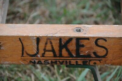 Antique wooden dolly hand truck cast iron primitive 1920 Jakes Foundry Nashville 6