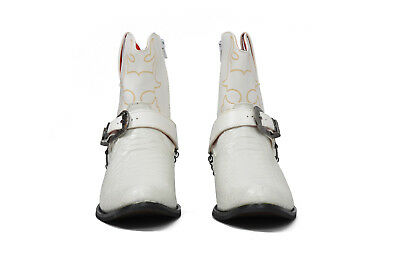 Mens Gents Western Style Snake Skin Cowboys Ankle Boots White Brown Black 6-12