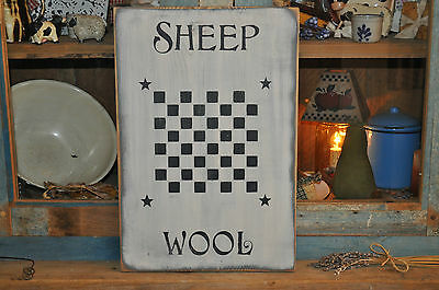 Vintage Looking White Wood Sign Sheep Wool Game Board Farmhouse Primitive Decor 3