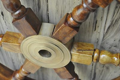 "18""Nautical Wooden Ship Steering Wheel Pirate Decor Wood Brass Fishing Wall Boat 3"